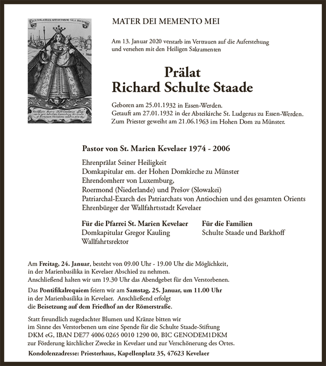 Trauer Schulte Staade